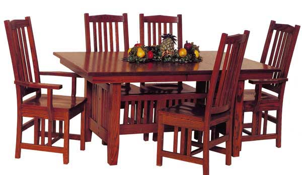 Cherry Canted Mission Table, Amish Made Stickley Style Table And Chairs