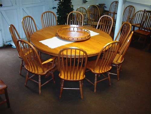amish made round natural cherry table woodloft org   custom amish made furniture   round tables      rh   woodloft org