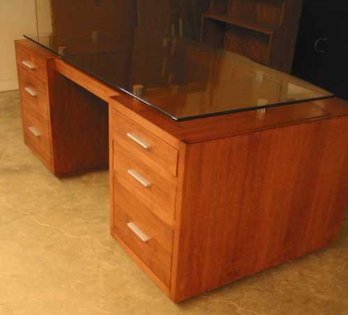 locally amish custom made glass top desk - Glass Top Computer Desk