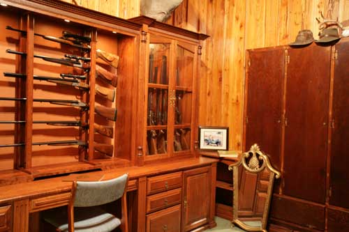 Locally Amish Custom Made Gun Cabinet Wall Unit Side View